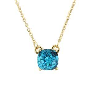 Jewelry - Aqua Glitter Square Necklace